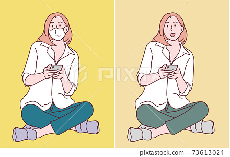 Young attractive lady sit floor legs crossed using smartphone. Hand drawn in thin line style, vector illustrations. (A mask can be removable) 73613024
