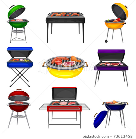 Barbecue Grill with Charcoal Kettle and Square Grill with Food Cooking on It Vector Set 73613458