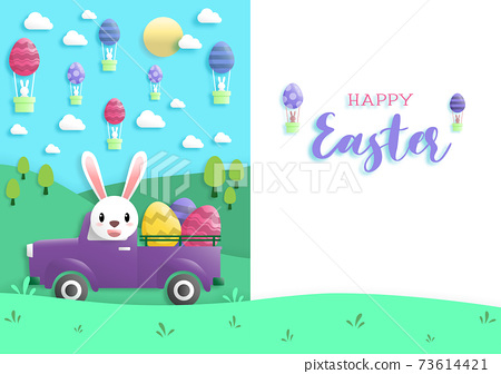 Happy easter day in paper art style with rabbit and easter eggs. greeting card, posters and wallpaper. Vector illustration. 73614421