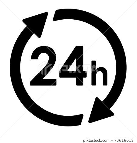 화살표와 원 의한 24 시간 아이콘 73616015