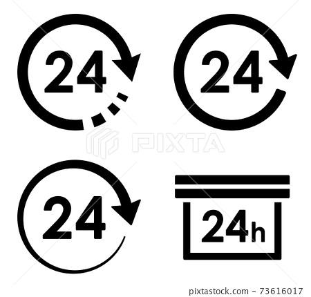 화살표와 원 의한 24 시간 아이콘 변형 세트 73616017