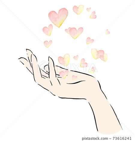 水彩心手手模型愛情人節週年母親節福利家庭戀人切插圖 73616241