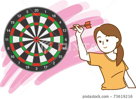 針對飛鏢目標的女人的圖像插圖 73619216