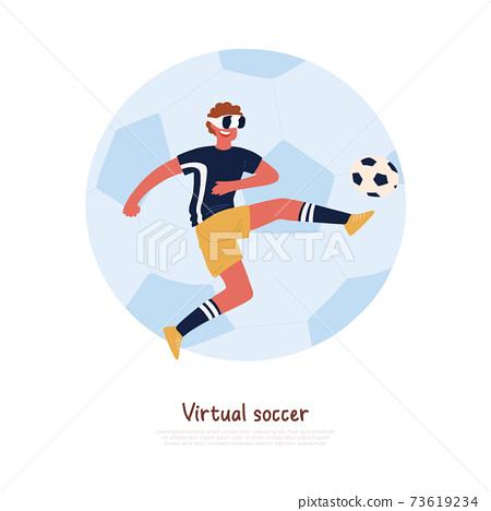 Footballer wearing virtual reality headset, kicking soccer ball, young man playing outdoor game banner 73619234