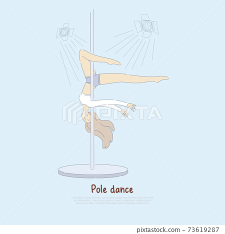 Young slim girl, professional female performer in sportswear, sexy dancer performing pole dance, fitness banner 73619287