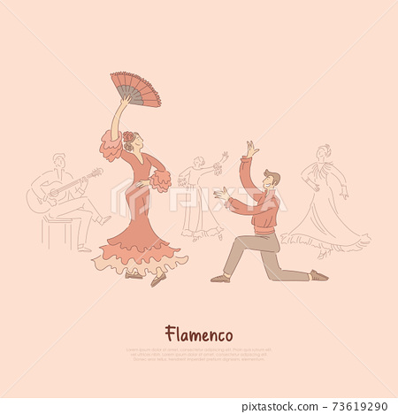 Professional dancers, elegant woman in red dress performing flamenco, traditional spanish dance, entertainment show banner 73619290