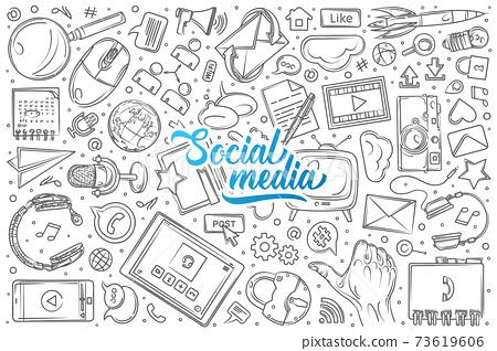 Hand drawn social media set doodle vector background 73619606