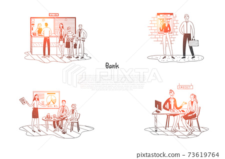 Bank - clients in bank listening to presentation, speaking with specialists, standing in line to cash desk and making withdrawals vector concept set 73619764