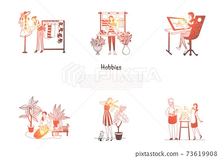 Hobbies - designing clothes, growing plants, playing violin, cooking, painting, making flower compositions vector concept set 73619908