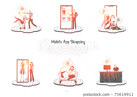 Mobile app shopping - people ordering and making purchase via mobile shopping vector concept set 73619911