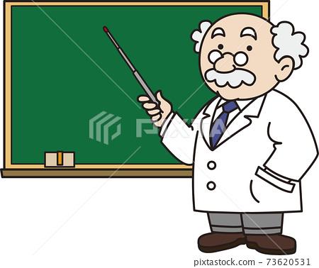 수업을하는 교사와 칠판 73620531