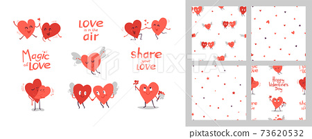 Set of cute vector illustrations isolated on white. Kawaii red smiling hearts. Clip art for romantic design. Couple in love. Seamless patterns, endless textures. Happy Valentines Day. 73620532