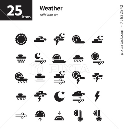 Weather solid icon set. Vector and Illustration. 73622842