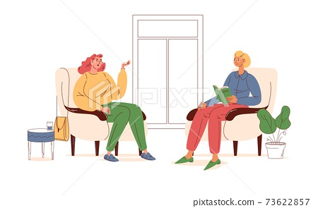 Young woman at psychotherapist session talking about problems and fears. Outline stylish interior with soft chairs and flower pots 73622857