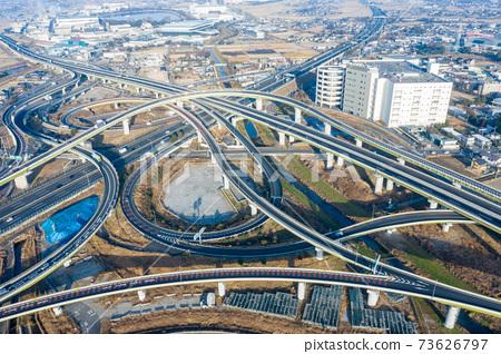 崎玉縣白木久喜交匯處的鳥瞰圖 73626797