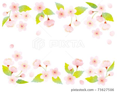 水彩葉櫻花的裝飾插圖 73627586