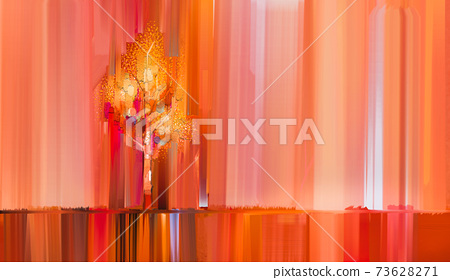 Abstract colorful oil painting on canvas texture. Semi- abstract paint of landscape, tree, and flower. Modern art oil paintings nature with yellow, red color. Abstract contemporary art for background 73628271