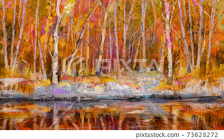 Oil painting colorful autumn trees. Semi abstract image of forest, aspen trees with yellow - red leaf and lake. Autumn, Fall season nature background. Hand Painted Impressionist, outdoor landscape 73628272