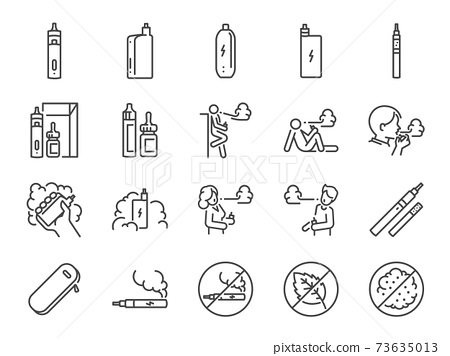 Vaping line icon set. Included the icons as smoking, vapor, vape, electronic cigarette, unhealthy living, and more. 73635013
