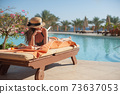 Woman in a straw hat relaxing on a daybed near a luxurious summer pool hotel Egypt, concept time to travel 73637053