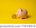 Cryptocurrency Bitcoin near piggy money box as symbol of financial revolution 73638916