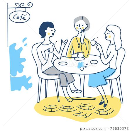 三個女人在咖啡廳喝茶 73639378