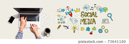 Social media with person using laptop 73641180