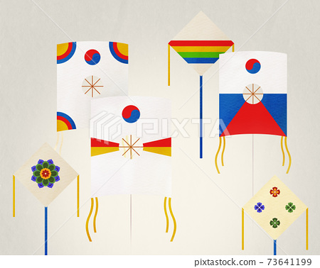 韓國度假插畫風箏 73641199