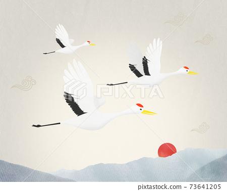 韓國度假插圖起重機和山 73641205