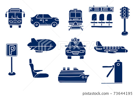 silhouette of transportation. doodle sketch style icon set. isolated on white background simple ink hand drawn Vector illustration 73644195