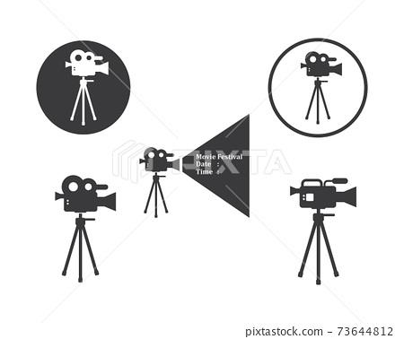 movie,film recorder logo icon of industry film vector illustration 73644812