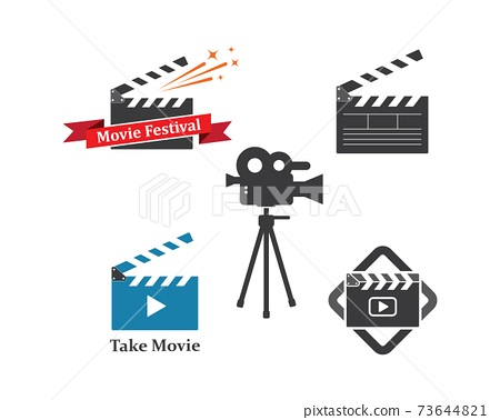 clapperboard movie icon of industry movie and movie festival vector illustration 73644821