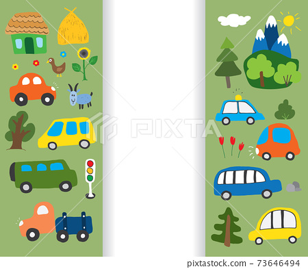 Cars Cartoon Set. Cute transport Doodles collection, vector illustration 73646494