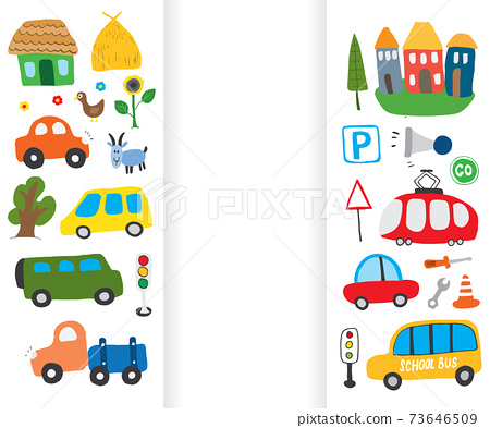 Cars Cartoon Set. Cute transport Doodles collection, vector illustration 73646509