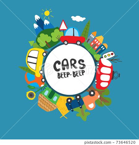 Cars Cartoon Set. Cute transport Doodles collection, vector illustration 73646520
