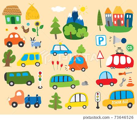 Cars Cartoon Set. Cute transport Doodles collection, vector illustration 73646526