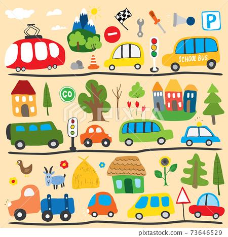 Cars Cartoon Set. Cute transport Doodles collection, vector illustration 73646529