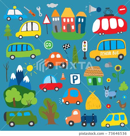 Cars Cartoon Set. Cute transport Doodles collection, vector illustration 73646536