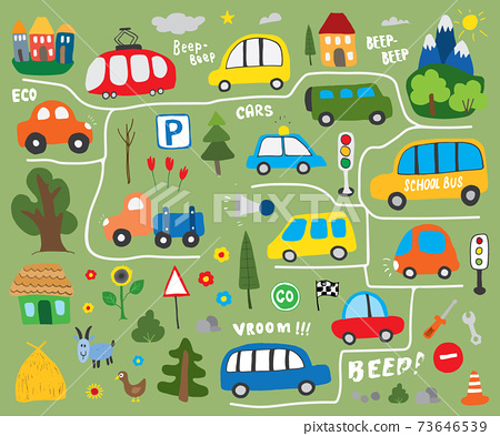 Cars Cartoon Set. Cute transport Doodles collection, vector illustration 73646539