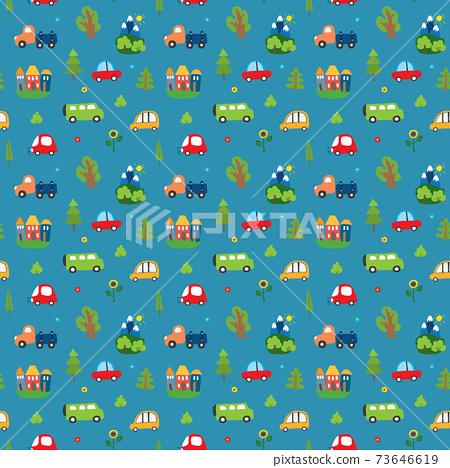 Cute Cars Seamless Pattern, Cartoon transportation Doodles Background, vector Illustration 73646619