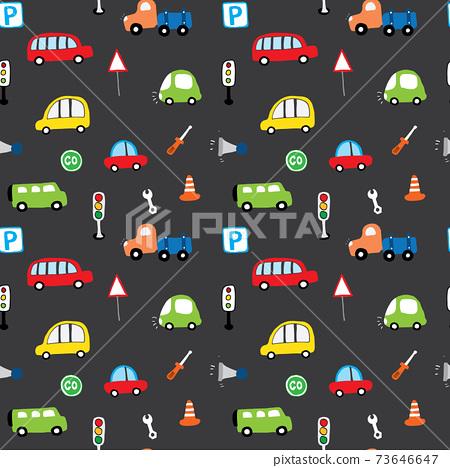 Cute Cars Seamless Pattern, Cartoon transportation Doodles Background, vector Illustration 73646647