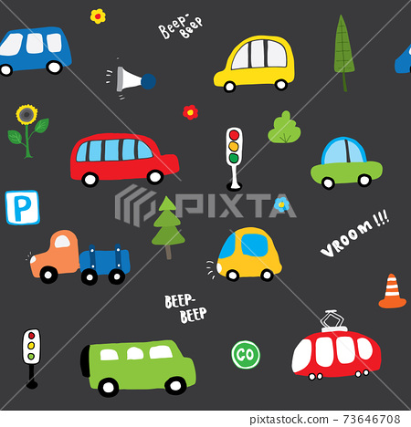 Cute Cars Seamless Pattern, Cartoon transportation Doodles Background, vector Illustration 73646708