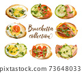 Collection of different bruschettes isolated on white. egg, tomatoes, cucumbers and microgreens. 73648033