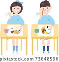 男孩和女孩在幼兒園吃午餐 73648596