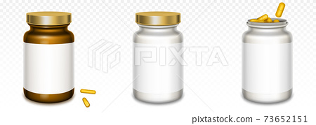 Medicine bottles with golden lids and yellow pills 73652151