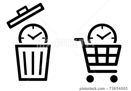 시계에 쓰레기통 장바구니 시간 아이콘 73654005