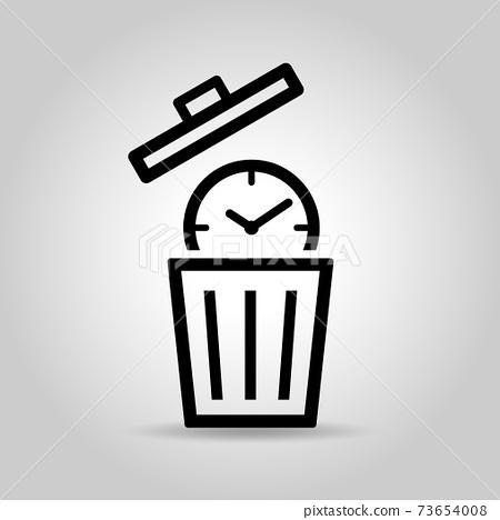 시계와 휴지통 시간 낭비 아이콘 73654008