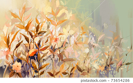 Abstract oil painting of colorful flower with orange, red, yellow leaf. Illustration hand painted, nature of fall, autumn season. Paint design for natural wallpaper. Vintage floral color background 73654286