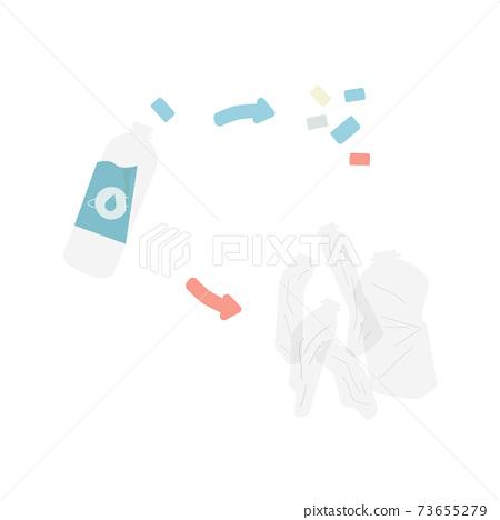 페트병과 뚜껑과 재활용 일러스트 소재 73655279