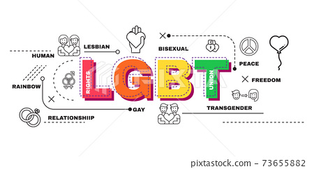 Design Concept Of Word LGBT Website Banner. 73655882